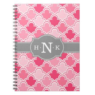 Cadernos Espiral Monograma cor-de-rosa feminino do cinza do teste