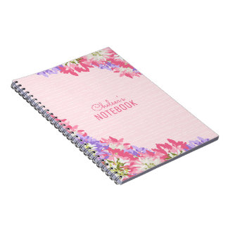Cadernos Espiral Monograma floral cor-de-rosa e malva delicioso do