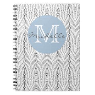 Cadernos Espiral Monograma retro abstrato preto & do branco do