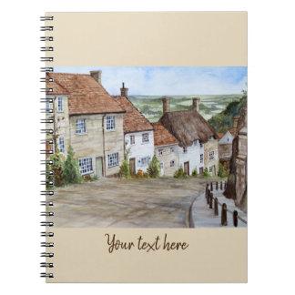 Cadernos Espiral Monte do ouro, Shaftesbury, pintura da aguarela de