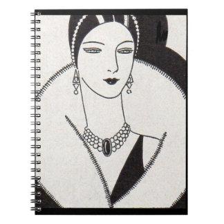 Cadernos Espiral mulher 1928 do art deco