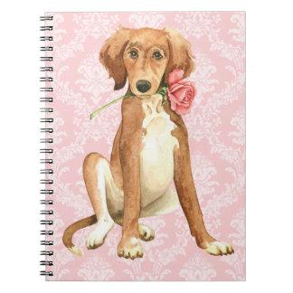 Cadernos Espiral Namorados Saluki cor-de-rosa
