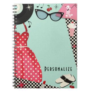 Cadernos Espiral o anos 50 dos anos 50 veste acima o divertimento
