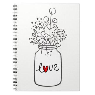 Cadernos Espiral O frasco de pedreiro rústico floresce o casamento