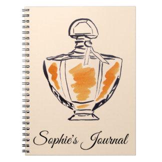 Cadernos Espiral O jornal da menina da forma da garrafa de perfume