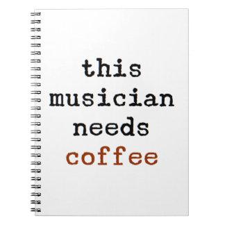 Cadernos Espiral o músico precisa o café