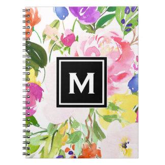 Cadernos Espiral O primavera colorido da aguarela floresce