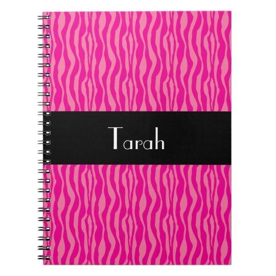 Cadernos Espiral O teste padrão cor-de-rosa do impressão da zebra