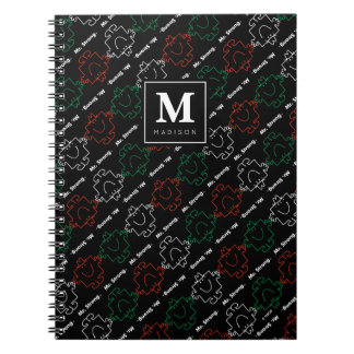 Cadernos Espiral O teste padrão vermelho, branco & verde | adiciona