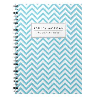 Cadernos Espiral O ziguezague azul e branco listra o teste padrão