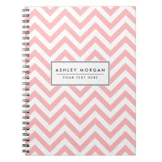 Cadernos Espiral O ziguezague cor-de-rosa e branco listra o teste