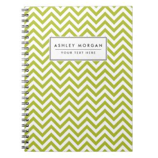 Cadernos Espiral O ziguezague verde e branco listra o teste padrão