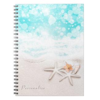 Cadernos Espiral Oceano azul Tropcial da estrela do mar branca do