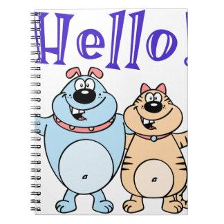 Cadernos Espiral olá!, design bonito de dois desenhos animados