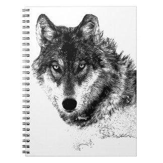 Cadernos Espiral Olhos inspirados brancos pretos do lobo