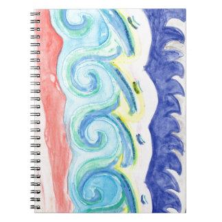 Cadernos Espiral Ondas da aguarela