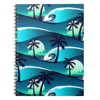 Cadernos Espiral Ondas e palmeiras
