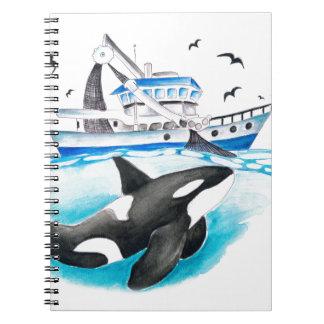 Cadernos Espiral Orca e o barco
