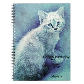 Cadernos Espiral Original bonito do gato azul