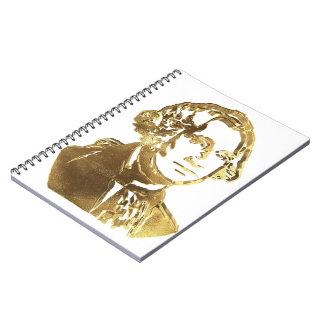 Cadernos Espiral Ouro americano do retrato do presidente George