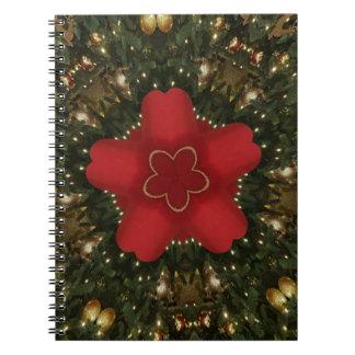 Cadernos Espiral Ouro verde vermelho da grinalda do Natal com
