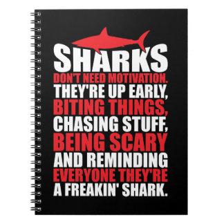 Cadernos Espiral Palavras inspiradores - seja um tubarão