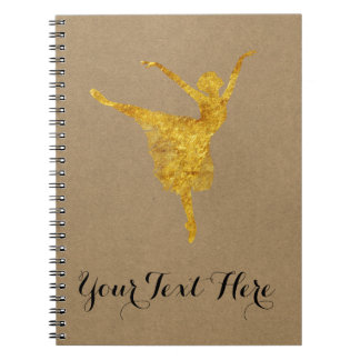 Cadernos Espiral Papel de embalagem da bailarina do ouro do jornal