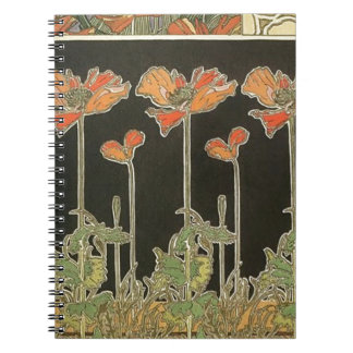 Cadernos Espiral Papoilas populares de Nouveau da arte do vintage