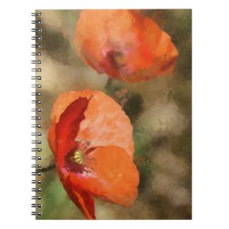 Cadernos Espiral Papoilas vermelhas