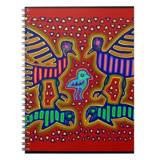Cadernos Espiral Pássaros indianos de Kuna com peixes
