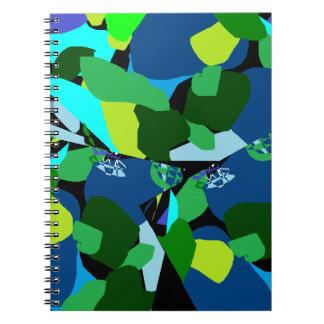 Cadernos Espiral Patterened azul verde