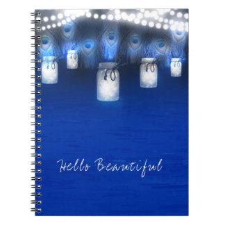 Cadernos Espiral Penas do pavão, frasco de pedreiro & luzes da