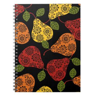 Cadernos Espiral Peras bonitos bonitas, amarelo, laranja, marrom