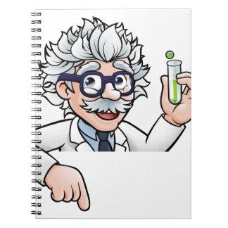 Cadernos Espiral Personagem de desenho animado do cientista que