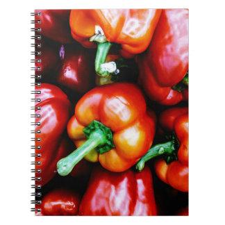 Cadernos Espiral Pimentas de Bell vermelhas