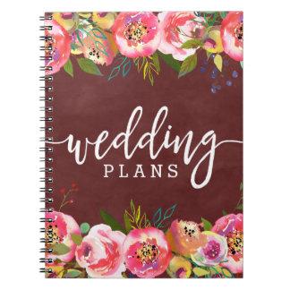 Cadernos Espiral Planejador floral do casamento da aguarela de