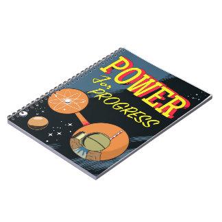 Cadernos Espiral Poder para o poster atômico do vintage do