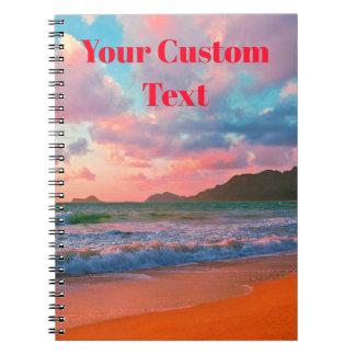 Cadernos Espiral Por do sol havaiano tropical