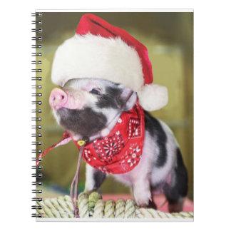 Cadernos Espiral Porco Papai Noel - porco do Natal - leitão