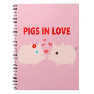 Cadernos Espiral porcos no amor