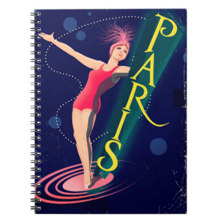 Cadernos Espiral Poster das viagens vintage do clube de Paris