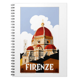 Cadernos Espiral Poster de viagens 1930 de Florença Italia