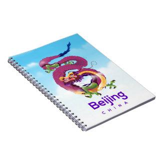 Cadernos Espiral Poster de viagens do dragão de Beijing China
