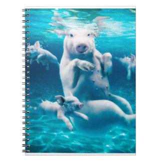 Cadernos Espiral Praia do porco - porcos da natação - porco