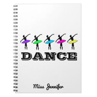 Cadernos Espiral Presente personalizado bailarina do professor da