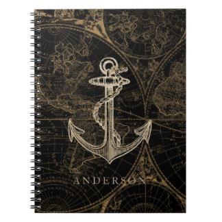 Cadernos Espiral Preto náutico do monograma da âncora do Velho
