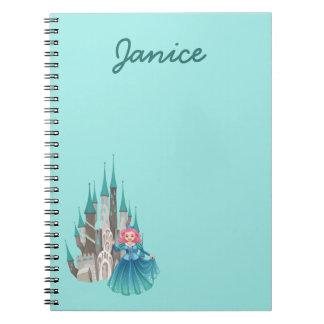 Cadernos Espiral Princesa e castelo na turquesa