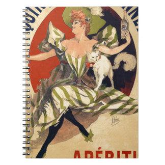 Cadernos Espiral Propaganda do francês do vintage