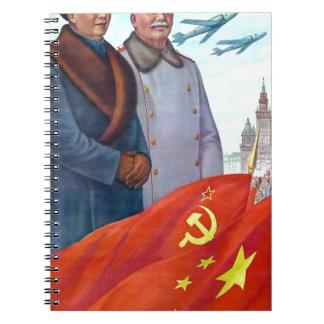 Cadernos Espiral Propaganda original Mao Zedong e Josef Stalin