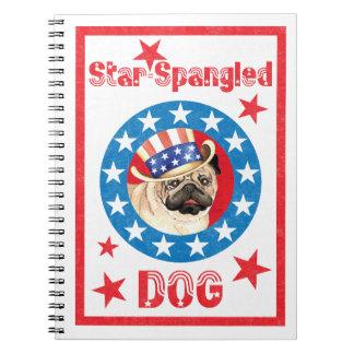 Cadernos Espiral Pug patriótico